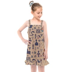Vintage Tribal Seamless Pattern With Ethnic Motifs Kids  Overall Dress