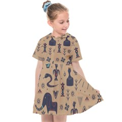 Vintage Tribal Seamless Pattern With Ethnic Motifs Kids  Sailor Dress