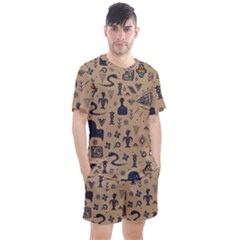 Vintage Tribal Seamless Pattern With Ethnic Motifs Men s Mesh Tee and Shorts Set