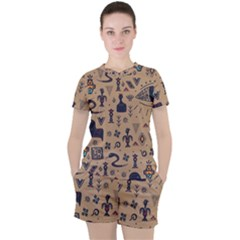 Vintage Tribal Seamless Pattern With Ethnic Motifs Women s Tee and Shorts Set