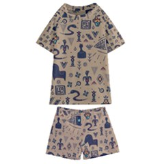 Vintage Tribal Seamless Pattern With Ethnic Motifs Kids  Swim Tee and Shorts Set
