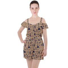 Vintage Tribal Seamless Pattern With Ethnic Motifs Ruffle Cut Out Chiffon Playsuit