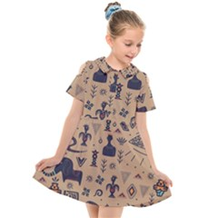 Vintage Tribal Seamless Pattern With Ethnic Motifs Kids  Short Sleeve Shirt Dress