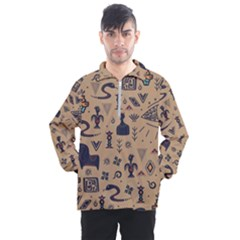 Vintage Tribal Seamless Pattern With Ethnic Motifs Men s Half Zip Pullover