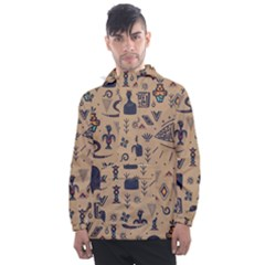 Vintage Tribal Seamless Pattern With Ethnic Motifs Men s Front Pocket Pullover Windbreaker