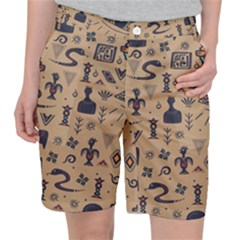 Vintage Tribal Seamless Pattern With Ethnic Motifs Pocket Shorts