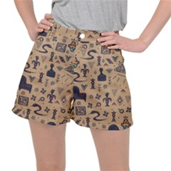 Vintage Tribal Seamless Pattern With Ethnic Motifs Ripstop Shorts