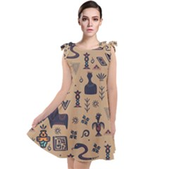 Vintage Tribal Seamless Pattern With Ethnic Motifs Tie Up Tunic Dress
