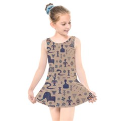 Vintage Tribal Seamless Pattern With Ethnic Motifs Kids  Skater Dress Swimsuit