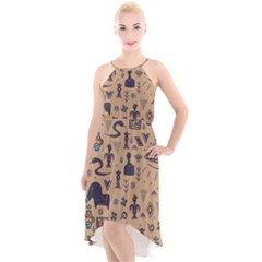 Vintage Tribal Seamless Pattern With Ethnic Motifs High-Low Halter Chiffon Dress