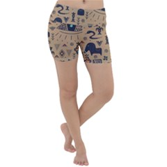 Vintage Tribal Seamless Pattern With Ethnic Motifs Lightweight Velour Yoga Shorts