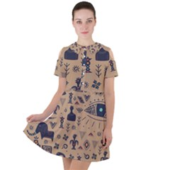 Vintage Tribal Seamless Pattern With Ethnic Motifs Short Sleeve Shoulder Cut Out Dress