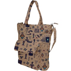 Vintage Tribal Seamless Pattern With Ethnic Motifs Shoulder Tote Bag