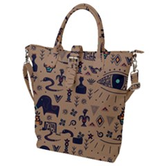 Vintage Tribal Seamless Pattern With Ethnic Motifs Buckle Top Tote Bag