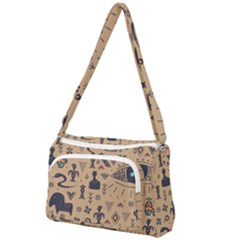 Vintage Tribal Seamless Pattern With Ethnic Motifs Front Pocket Crossbody Bag