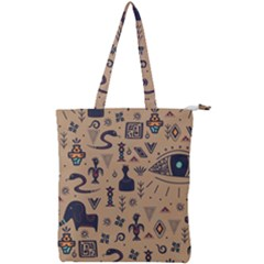 Vintage Tribal Seamless Pattern With Ethnic Motifs Double Zip Up Tote Bag