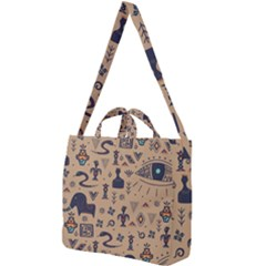Vintage Tribal Seamless Pattern With Ethnic Motifs Square Shoulder Tote Bag