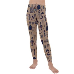 Vintage Tribal Seamless Pattern With Ethnic Motifs Kids  Lightweight Velour Leggings