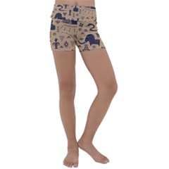 Vintage Tribal Seamless Pattern With Ethnic Motifs Kids  Lightweight Velour Yoga Shorts