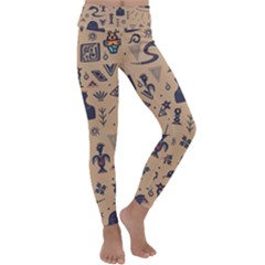 Vintage Tribal Seamless Pattern With Ethnic Motifs Kids  Lightweight Velour Classic Yoga Leggings