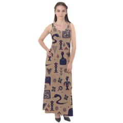 Vintage Tribal Seamless Pattern With Ethnic Motifs Sleeveless Velour Maxi Dress
