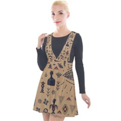 Vintage Tribal Seamless Pattern With Ethnic Motifs Plunge Pinafore Velour Dress
