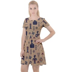 Vintage Tribal Seamless Pattern With Ethnic Motifs Cap Sleeve Velour Dress