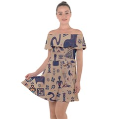 Vintage Tribal Seamless Pattern With Ethnic Motifs Off Shoulder Velour Dress
