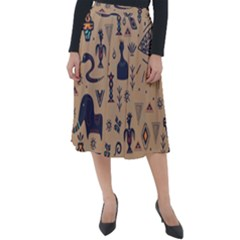 Vintage Tribal Seamless Pattern With Ethnic Motifs Classic Velour Midi Skirt