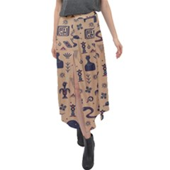 Vintage Tribal Seamless Pattern With Ethnic Motifs Velour Split Maxi Skirt