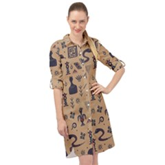 Vintage Tribal Seamless Pattern With Ethnic Motifs Long Sleeve Mini Shirt Dress