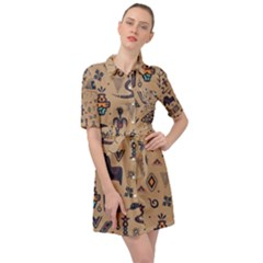 Vintage Tribal Seamless Pattern With Ethnic Motifs Belted Shirt Dress