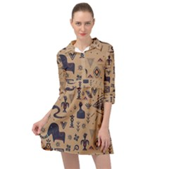 Vintage Tribal Seamless Pattern With Ethnic Motifs Mini Skater Shirt Dress