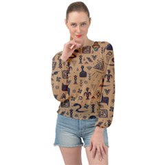 Vintage Tribal Seamless Pattern With Ethnic Motifs Banded Bottom Chiffon Top