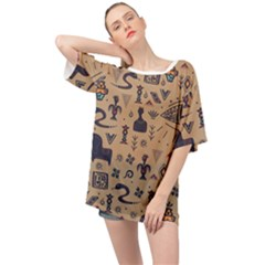 Vintage Tribal Seamless Pattern With Ethnic Motifs Oversized Chiffon Top