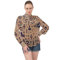 Vintage Tribal Seamless Pattern With Ethnic Motifs High Neck Long Sleeve Chiffon Top