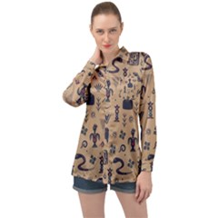 Vintage Tribal Seamless Pattern With Ethnic Motifs Long Sleeve Satin Shirt
