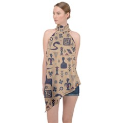 Vintage Tribal Seamless Pattern With Ethnic Motifs Halter Asymmetric Satin Top