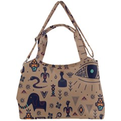 Vintage Tribal Seamless Pattern With Ethnic Motifs Double Compartment Shoulder Bag