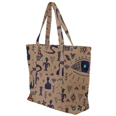 Vintage Tribal Seamless Pattern With Ethnic Motifs Zip Up Canvas Bag