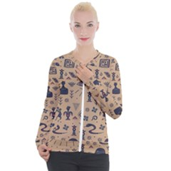 Vintage Tribal Seamless Pattern With Ethnic Motifs Casual Zip Up Jacket
