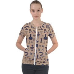 Vintage Tribal Seamless Pattern With Ethnic Motifs Short Sleeve Zip Up Jacket