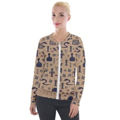 Vintage Tribal Seamless Pattern With Ethnic Motifs Velour Zip Up Jacket
