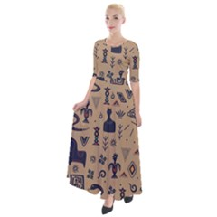 Vintage Tribal Seamless Pattern With Ethnic Motifs Half Sleeves Maxi Dress