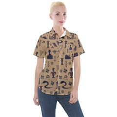 Vintage Tribal Seamless Pattern With Ethnic Motifs Women s Short Sleeve Pocket Shirt