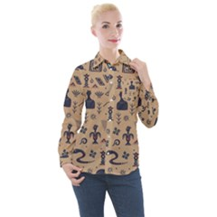 Vintage Tribal Seamless Pattern With Ethnic Motifs Women s Long Sleeve Pocket Shirt