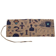 Vintage Tribal Seamless Pattern With Ethnic Motifs Roll Up Canvas Pencil Holder (S)