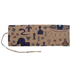 Vintage Tribal Seamless Pattern With Ethnic Motifs Roll Up Canvas Pencil Holder (M)