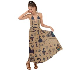 Vintage Tribal Seamless Pattern With Ethnic Motifs Backless Maxi Beach Dress