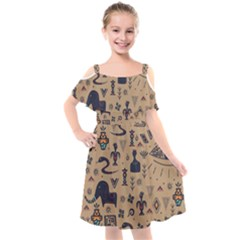 Vintage Tribal Seamless Pattern With Ethnic Motifs Kids  Cut Out Shoulders Chiffon Dress